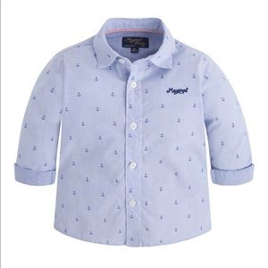 Mayoral Cotton Button Down Anchor Shirt
